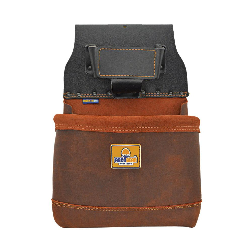 ABCOGEAR 10 in. 1-Pocket Elite Series Leather Tool Pouch in Brown