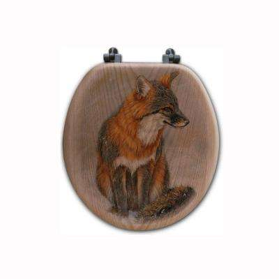 Grey Fox Round Closed Front Wood Toilet Seat in Oak Brown