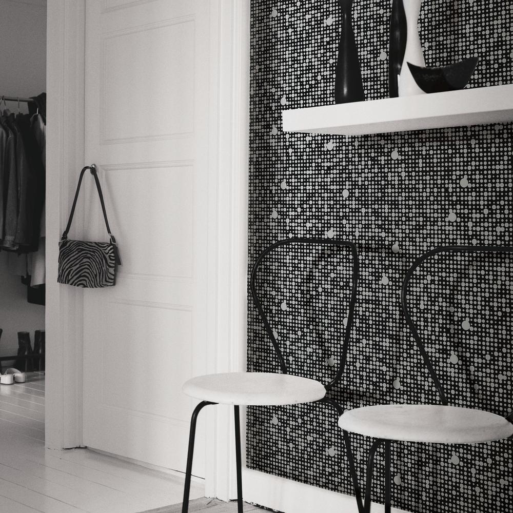 28.18 sq. ft. Black Polka Dot Peel and Stick Wall Decor