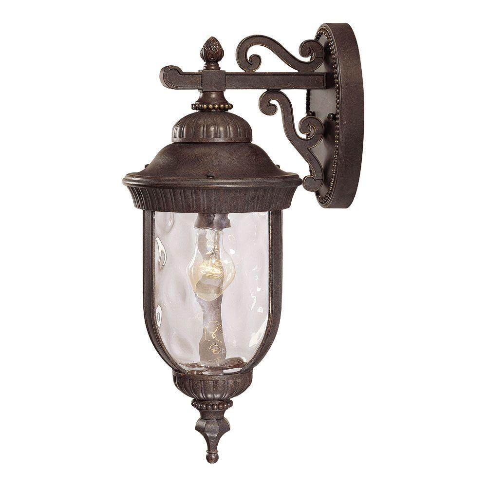 1-Light Wall Mount Lantern Walnut Patina Finish Clear Hammered Glass