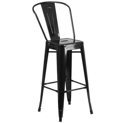 30.25 in. Black Bar Stool