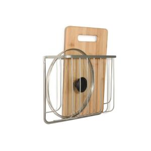 Ashley Steel Wall Mount Cutting Board and Bakeware Holder in Satin Nickel