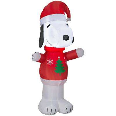 Pre-lit Inflatable Snoopy in Christmas Tree Sweater Airblown