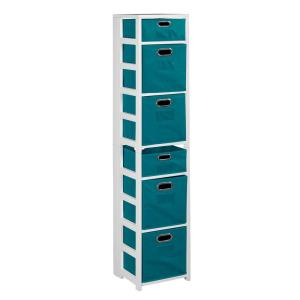 Nemus White and Teal 6-Shelf Folding Bookcase and Storage Tote Set
