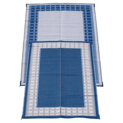 Country Hearth Blueberry and Cream 6 ft. x 9 ft. Polypropylene Indoor/Outdoor Reversible Patio/RV Mat