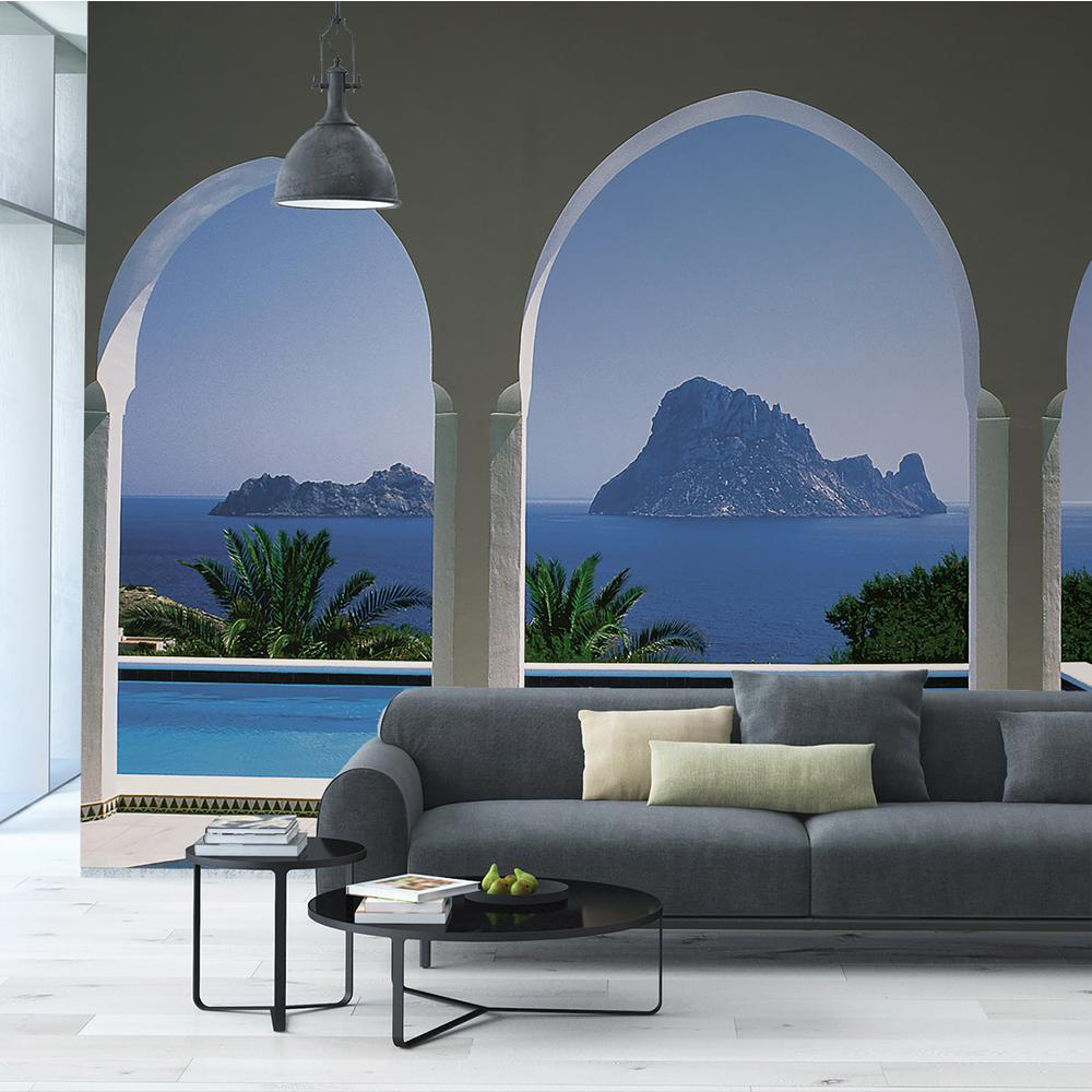 Komar 106 in. x 153 in. Pool and Arches, Mallorca Wall Mural
