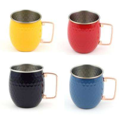 20 oz. Hammered Stainless Steel Scarlet, Daffodil, Lapis, and Cobalt Moscow Mule Mugs (4-Pack)