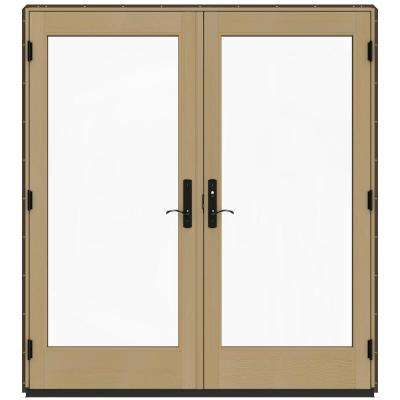 72 in. x 80 in. W-4500 Dark Chocolate Prehung Left-Hand Inswing French Patio Door with Contemporary Frame