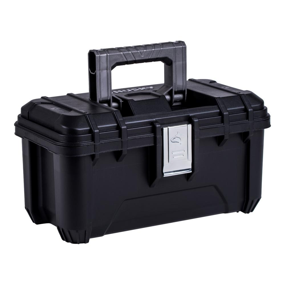 Husky Husky 16 in. Plastic Portable Tool Box with Metal Latches in Black