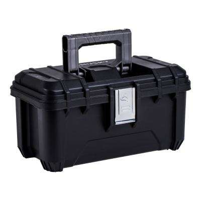 16 in. Plastic Tool Box with Metal Latches in Black