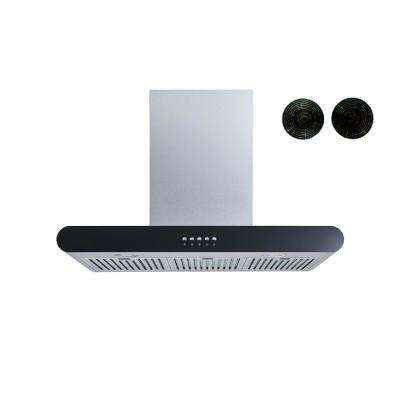 30 in. Convertible Wall Mount Range Hood in Stainless Steel with Push Button Control and Carbon Filters