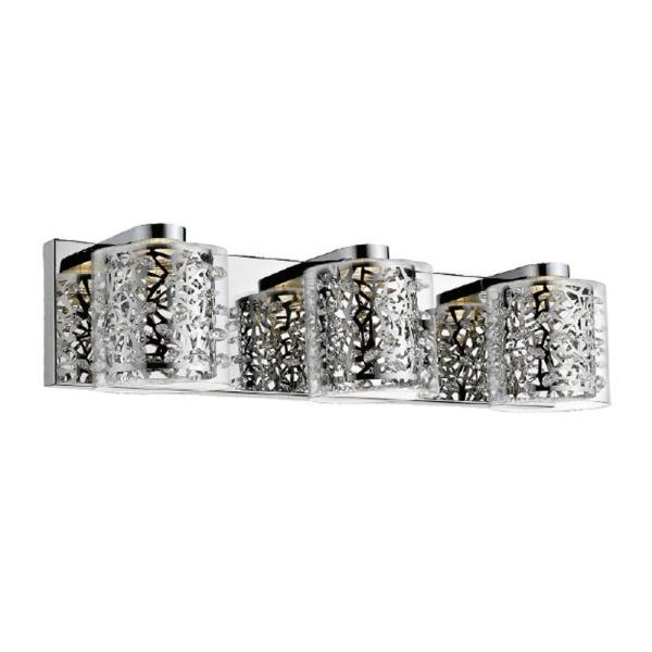 Aria Collection 20.5 in. 3-Light Chrome Vanity Light with Clear Glass Shades