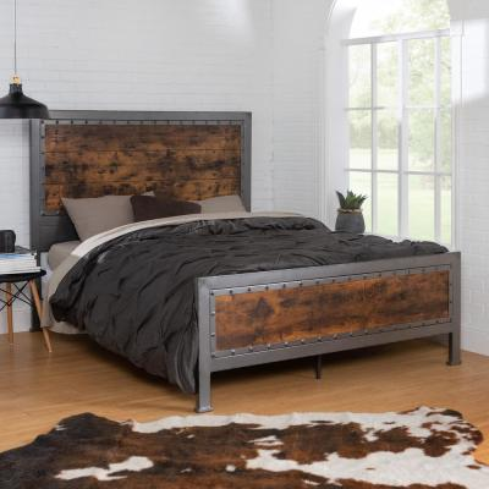 Queen Size Rustic Brown Industrial Wood and Metal Bed