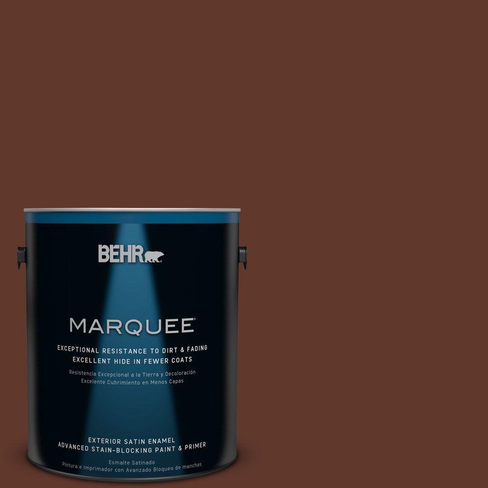 BEHR MARQUEE 1-gal. #ECC-42-3 Deep Cherrywood Satin Enamel Exterior Paint