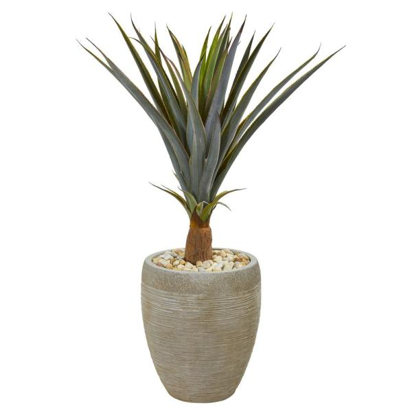 Nearly Natural Indoor 34 Agave Succulent Artificial Plant in Sandstone Planter
