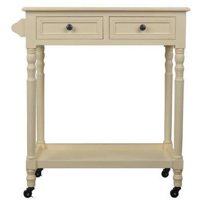 White 2-Drawer Rolling Bar Cart
