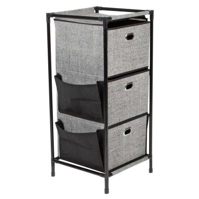 3 Tier Storage Drawers with Side Pockets Unit in Black