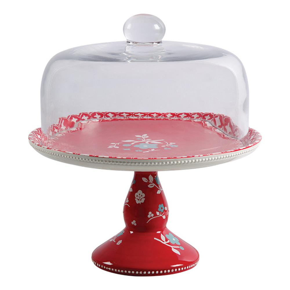 Cherry Single Tier Red Durastone Cake Stand with Glass Dome Cover