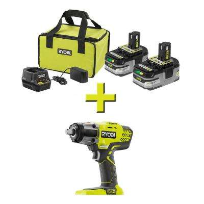 18-Volt ONE+ LITHIUM+ HP 3.0 Ah Battery (2-Pack) Starter Kit with Charger and Bag with Bonus ONE+ Impact Wrench