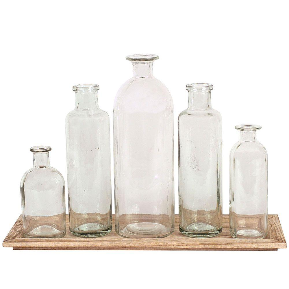3R Studios Glass Bottle Vases with Tray (Set of 5)