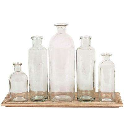 Glass Bottle Vases with Tray (Set of 5)