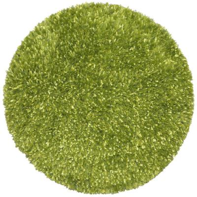 Green Shag 5 ft. x 5 ft. Round Area Rug