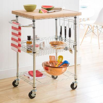 EcoStorage Chrome Kitchen Cart with Bamboo Top