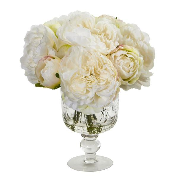 Nearly Natural Indoor Peony Artificial Arrangement in Royal Glass Urn 1849-WH