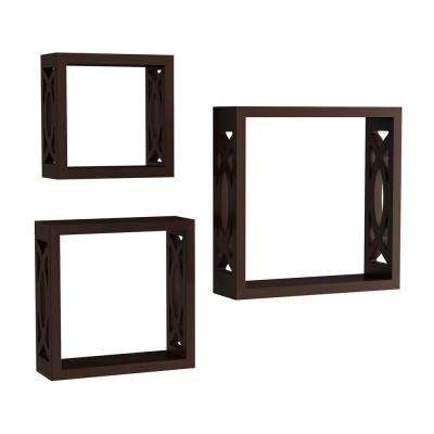 Decorative Floating Open Sided Cube Wall Shelves in Dark Brown (Set of 3)