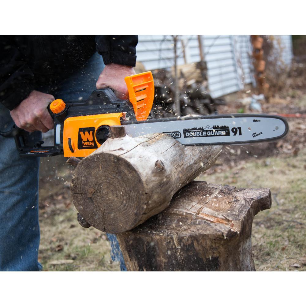 WEN 16 in Electric Chainsaw 12 Amp Power Tool Heavy Duty Wood Tree Bush Branch