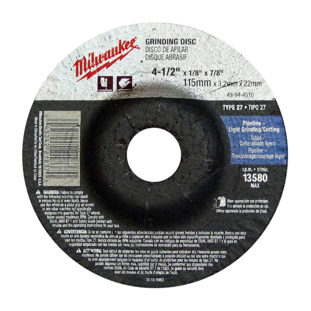 Milwaukee 4-1/2 inch x 1/4 inch x 7/8 inch Grinding Wheel (Type 27) by Milwaukee