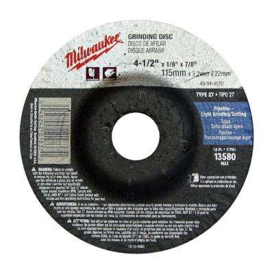 4-1/2 in. x 1/4 in. x 7/8 in. Grinding Wheel (Type 27)