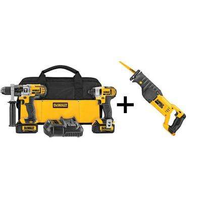 20-Volt MAX Lithium-Ion Cordless Hammer/Impact Combo Kit (2-Tool) w/ Batteries, Charger, Bag and Bonus Reciprocating Saw