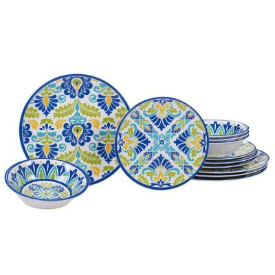 Martinique 12-Piece Casual Multicolor Melamine Outdoor Dinnerware Set (Service for 4)