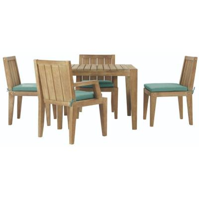 Bermuda 5-Piece All-Weather Eucalyptus Wood Patio Dining Set with Spa Blue Fabric Cushions