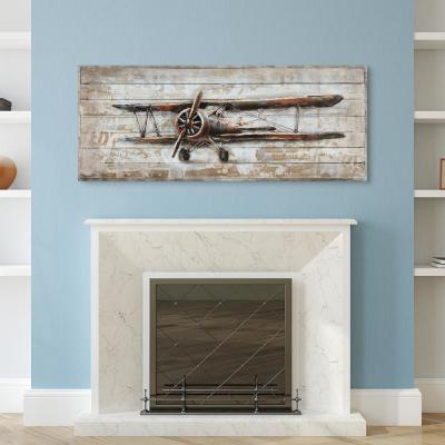 """""""Model airplane"""" Metallic Handed Painted Rugged Wooden Blocks Wall Decor"""