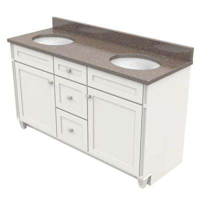 60 in. Vanity in Dove White with Natural Quartz Vanity Top in Obsidian and White Double Basin