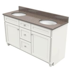 KraftMaid 60 inch Vanity in Dove White with Natural Quartz Vanity Top in Obsidian and White Double Basin by KraftMaid