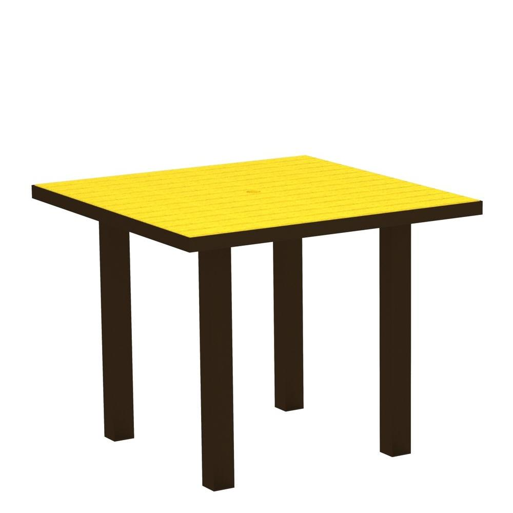 Euro Textured Bronze 36 in. Square Patio Dining Table with Lemon