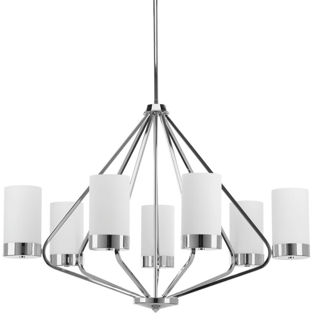 Progress lighting elevate collection 7 light polished chrome progress lighting elevate collection 7 light polished chrome chandelier with etched glass shade aloadofball Gallery