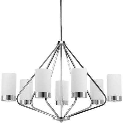 Elevate Collection 7 -Light Polished Chrome Chandelier with Etched Glass Shade