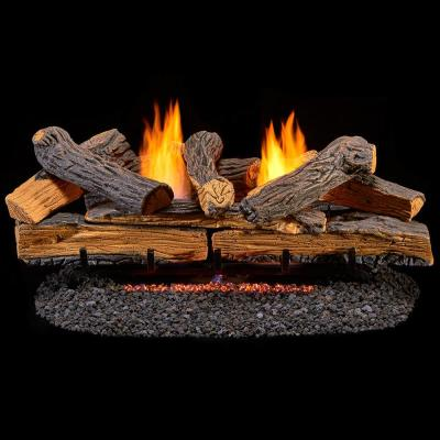 Split Red Oak 30 in. Vent-Free Gas Fireplace Logs With Manual Control