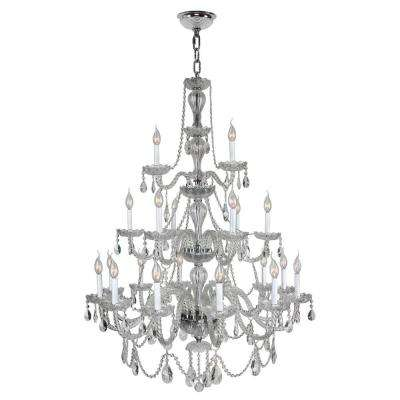 Provence 21-Light Polished Chrome and Clear Crystal Chandelier