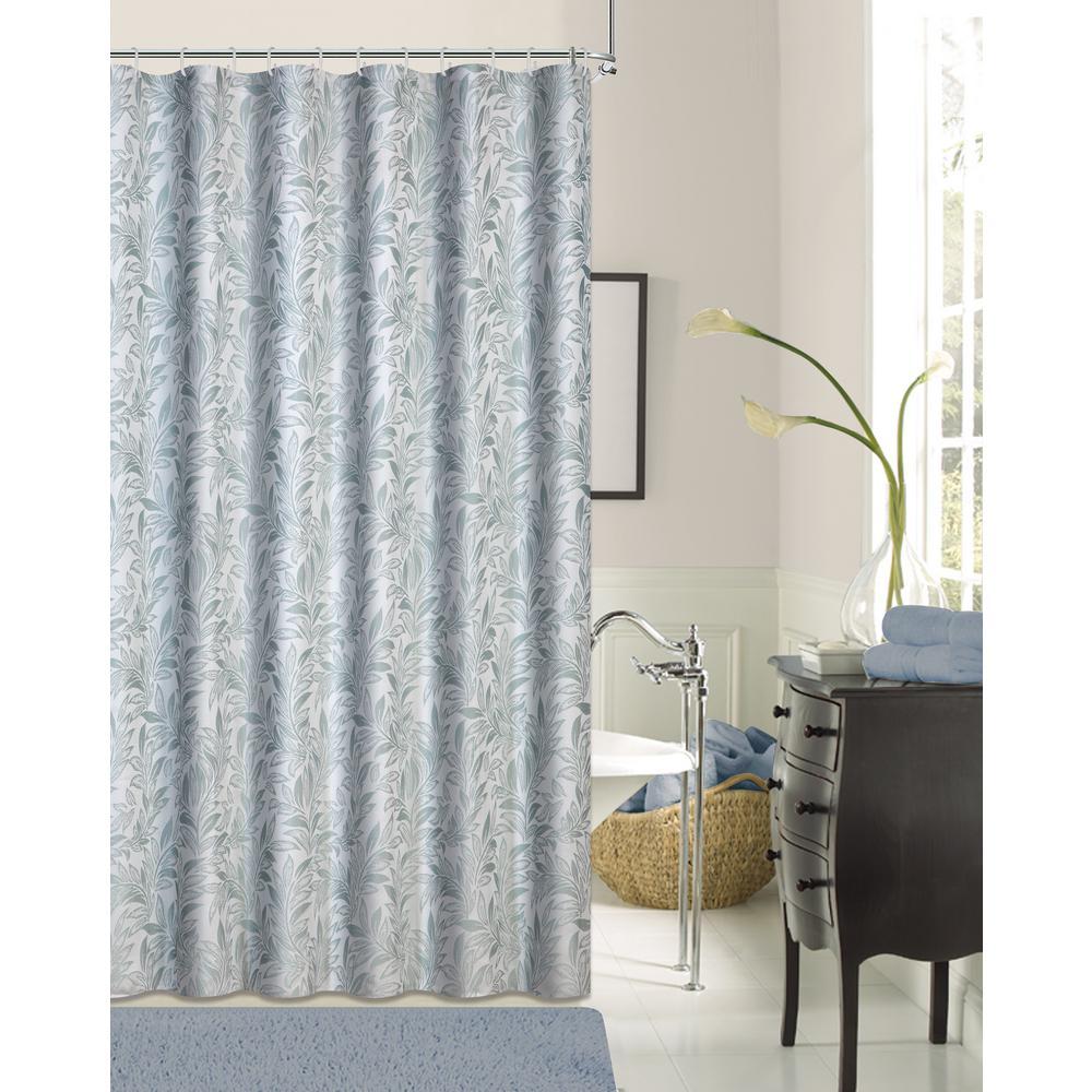 Lisbon 72 in. Seafoam Shrink Yarn Shower Curtain