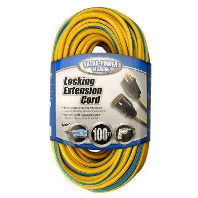 100 ft. 14/3 SJTW Push-Lock Multi-Color Outdoor Medium-Duty Extension Cord