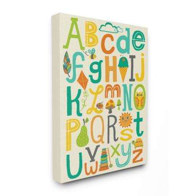 "24 in. x 30 in. ""Teal Orange and Green Alphabet Animals And Fun Food"" by Allison Cole Canvas Wall Art"