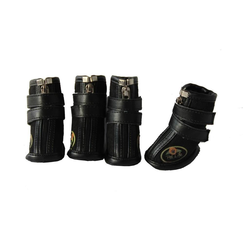 Medium Black Ruff Suede Dog Shoes (Set of 4)