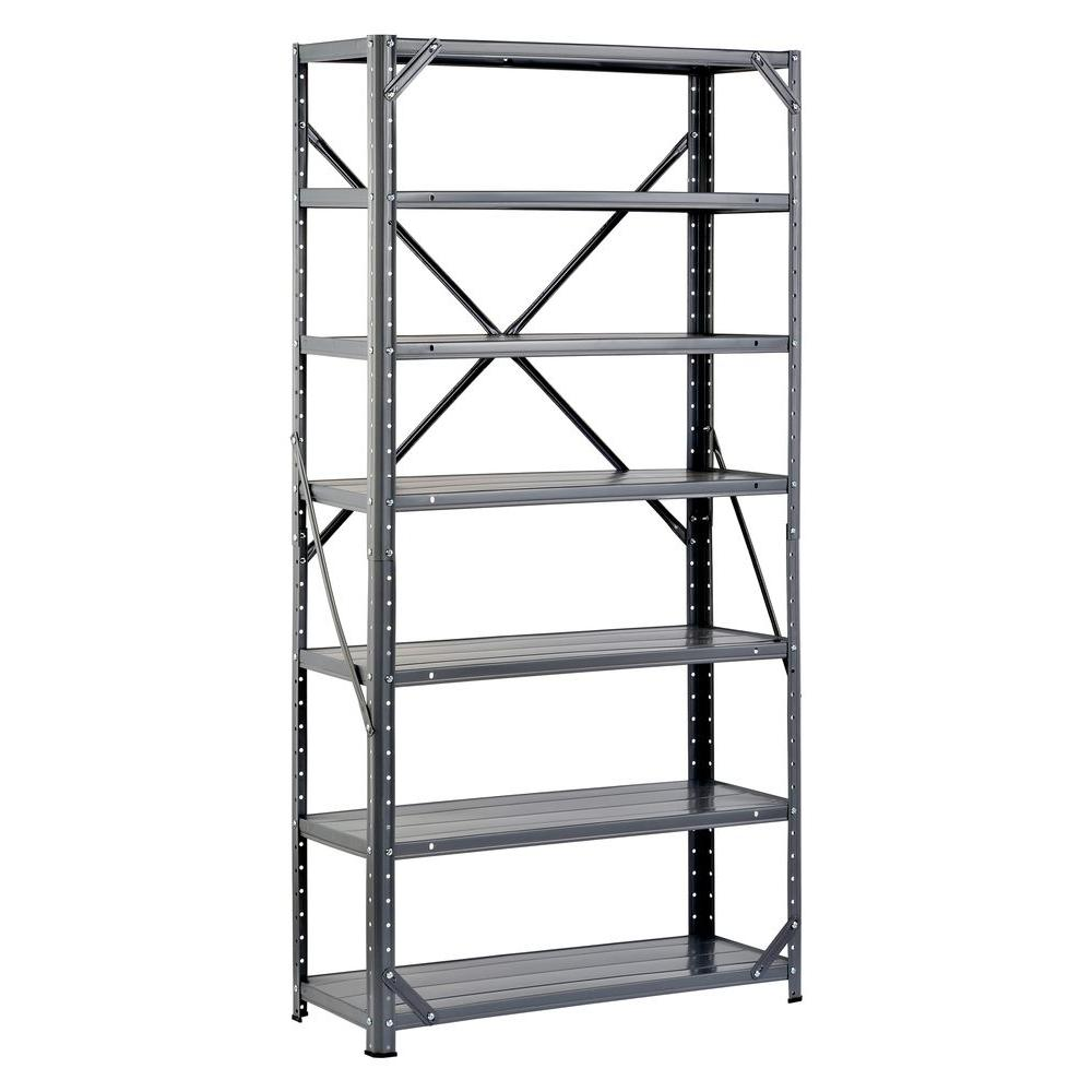 Edsal 60 in. H x 30 in. W x 12 in. D Steel Canning Shelving Unit in Gray