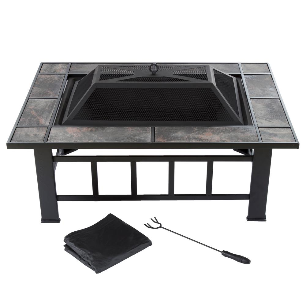 Pure Garden 37 In. Steel Rectangular Tile Fire Pit With Cover