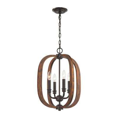 Wood Arches 4-Light Oil Rubbed Bronze Chandelier